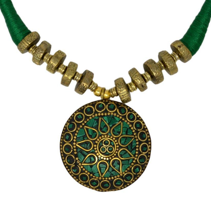 Green Dhaga Oxidised  Necklace Set Close Up