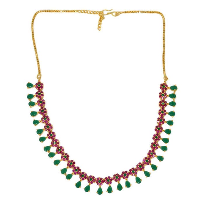 Green & Red Stone Necklace Set Top View