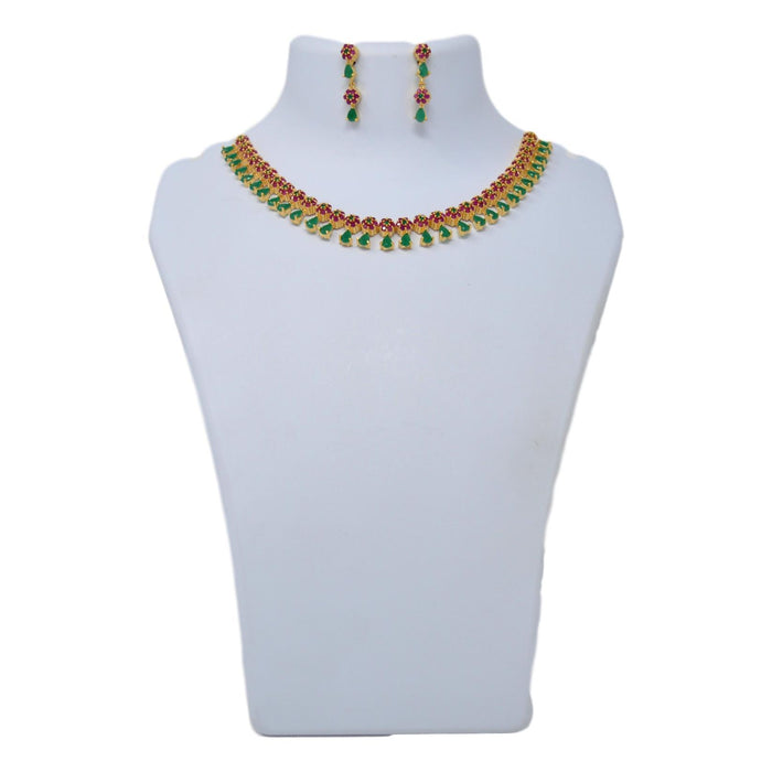 Green & Red Stone Necklace Set On Mannequin
