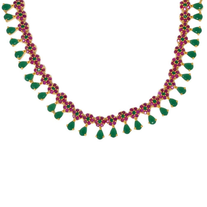 Green & Red Stone Necklace Set Close Up