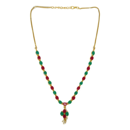 Green & Red Stone With Moti Necklace Set Top View