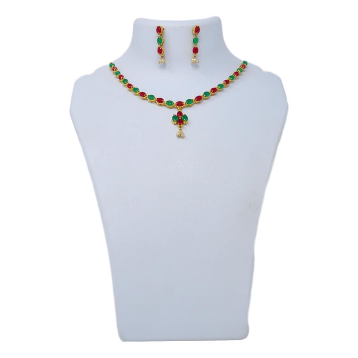 Green & Red Stone With Moti Necklace Set On Mannequin