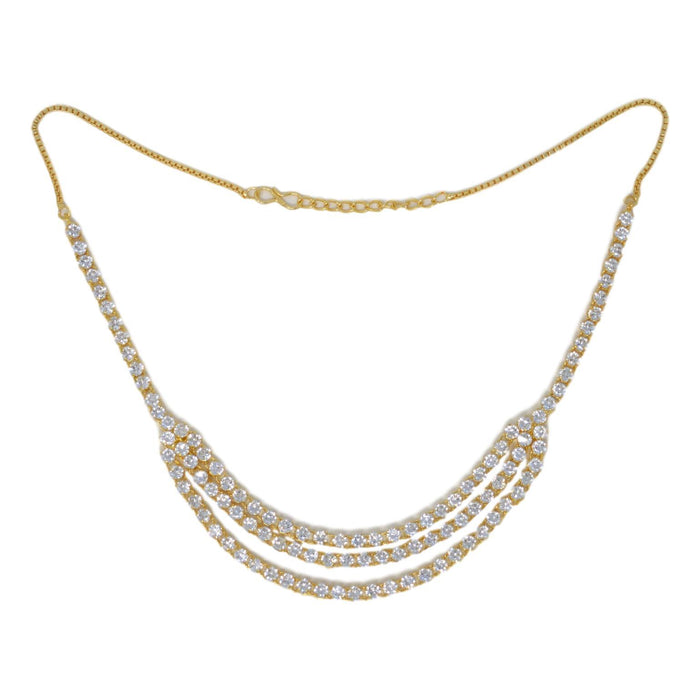 American White Diamon Three Layers Necklace Set Top View