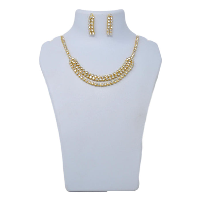 American White Diamond Three Layers Necklace Set On Mannequin