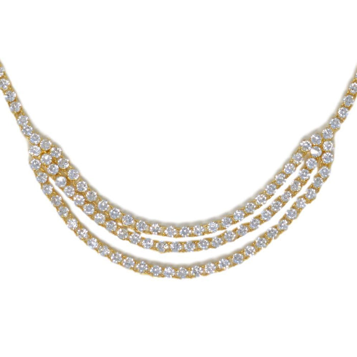 American White Diamond Three Layers Necklace Set Close Up