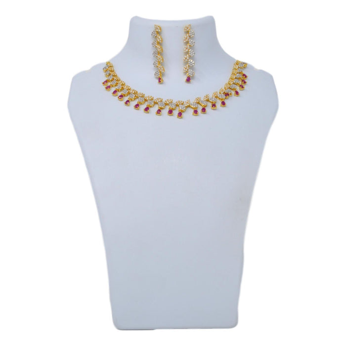 American White Diamond With Red Stone Necklace Set On Mannequin