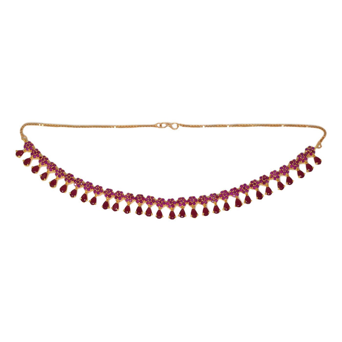 Red Stone Necklace Set Top View