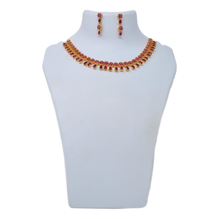 Red Stone Necklace Set On Mannequin