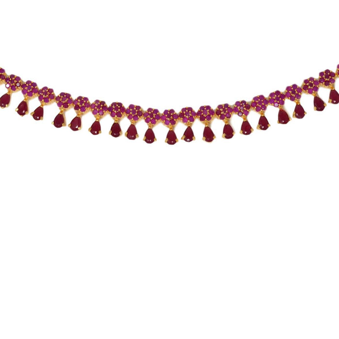 Red Stone Necklace Set Close Up