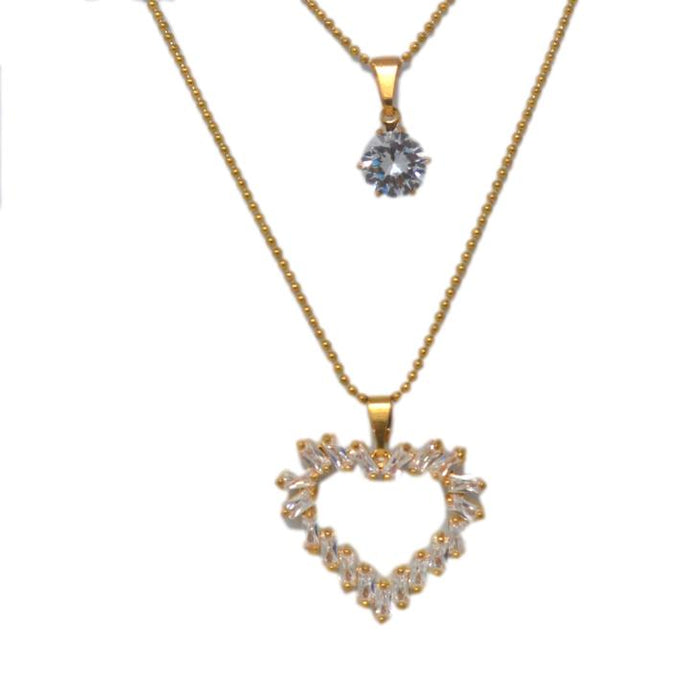 American Diamond Two Layer Chain Necklace Set