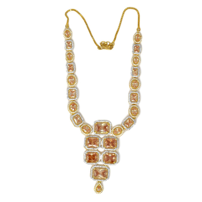 Yellow & White American Diamond Necklace Top View