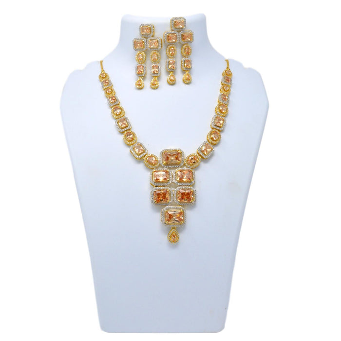 Yellow & White American Diamond Necklace Set On Mannequin