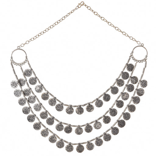 Coin Three Layer Oxidised Necklace Set