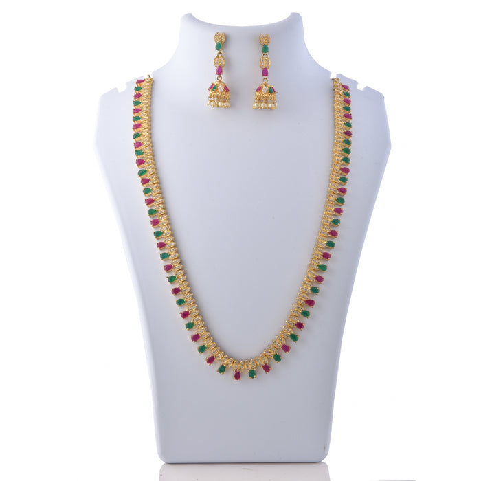 Red, Green Stone Necklace Set On Mannequin