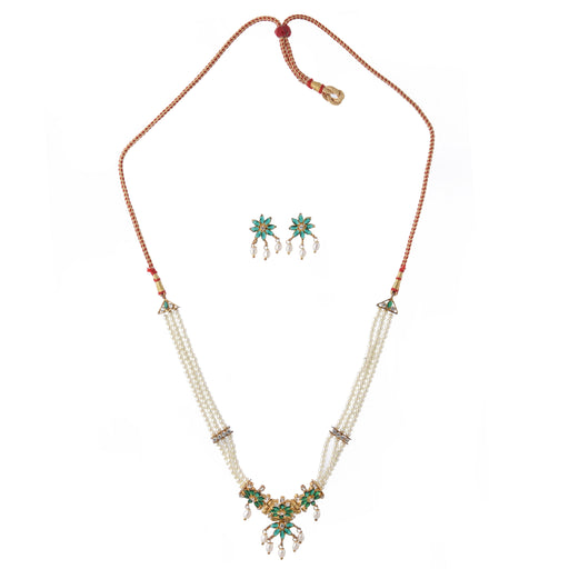 Green Stone & Moti Choker Necklace Set Top View