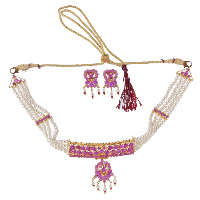 Moti & Red Stone Choker Necklace Set Top View
