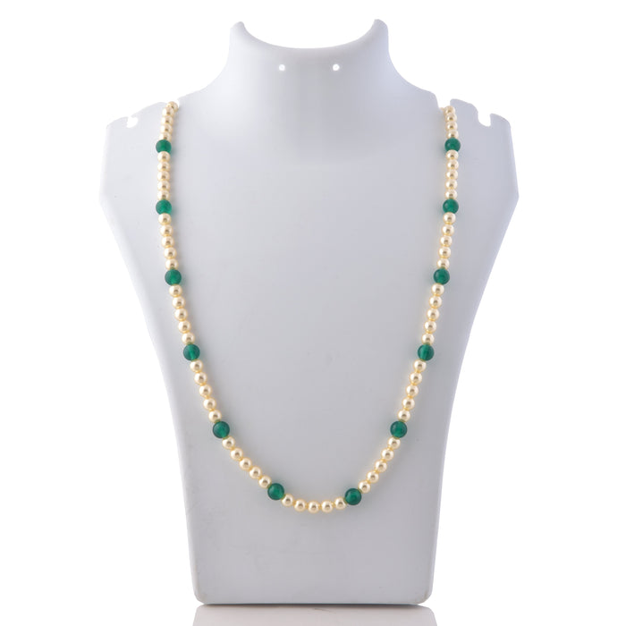 Green Mani & Moti Mal Necklace On Mannequin