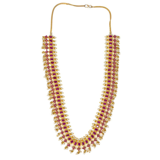 Red Stone & Moti Necklace Top View