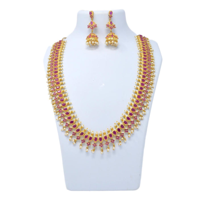 Red Stone & Moti Necklace Set On Mannequin