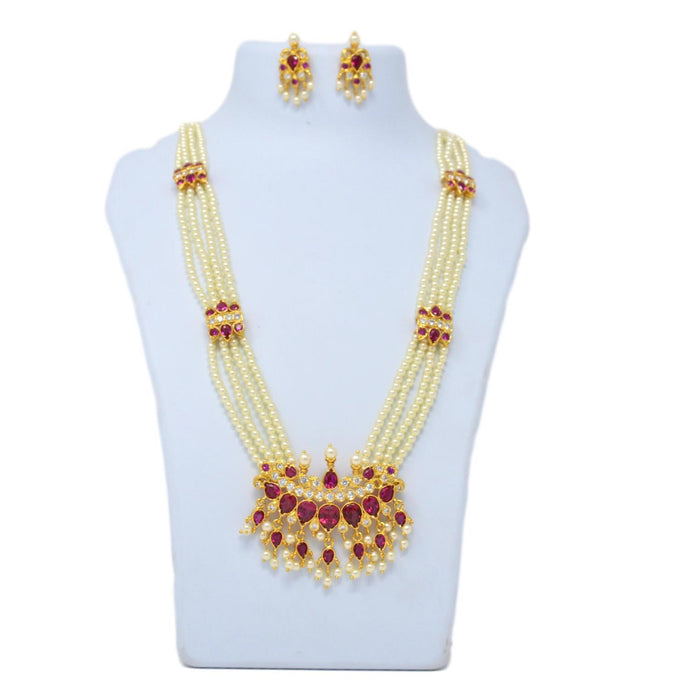 Red Stone & Moti Ranihar Necklace Set On Mannequin