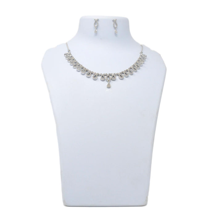 White American Diamond  Necklace Set On Mannequin