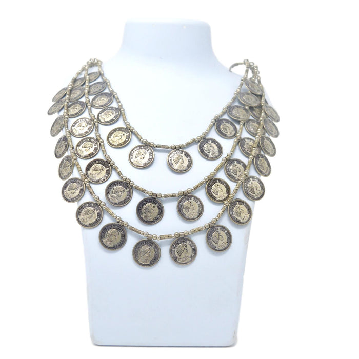 Three Layer Coin Oxidised Necklace On Mannequin