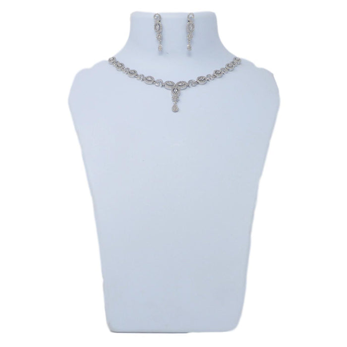 White American Diamond  Necklace On Mannequin