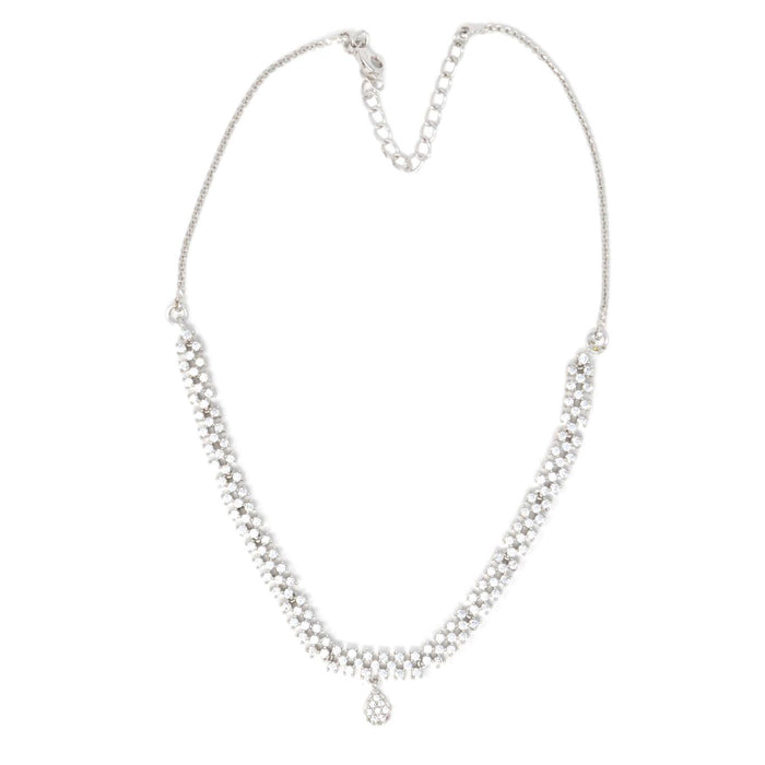 White American Diamond  Necklace Top View