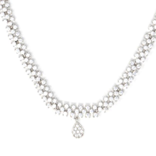 White American Diamond  Necklace Closeup