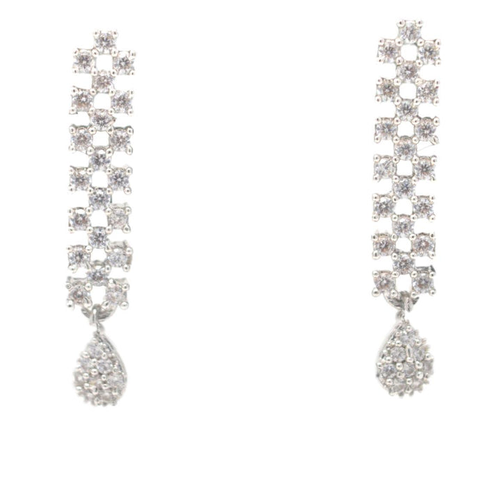 White American Diamond  Necklace Earring