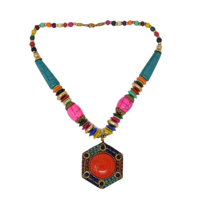 Colorful Beads Necklace Top View