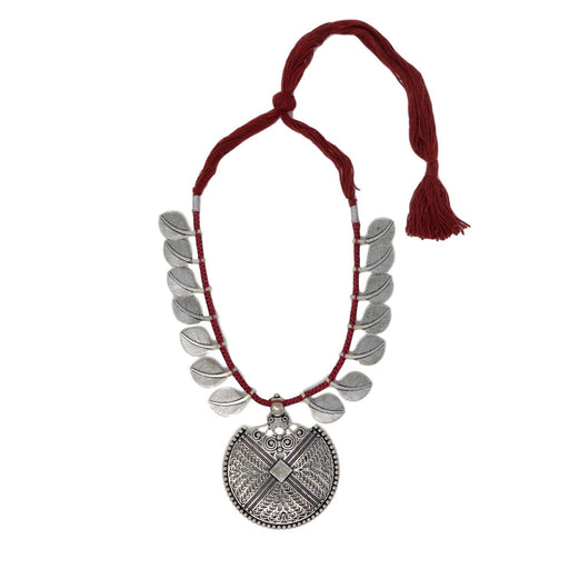 Red Dhaga Leaves Necklace Top View