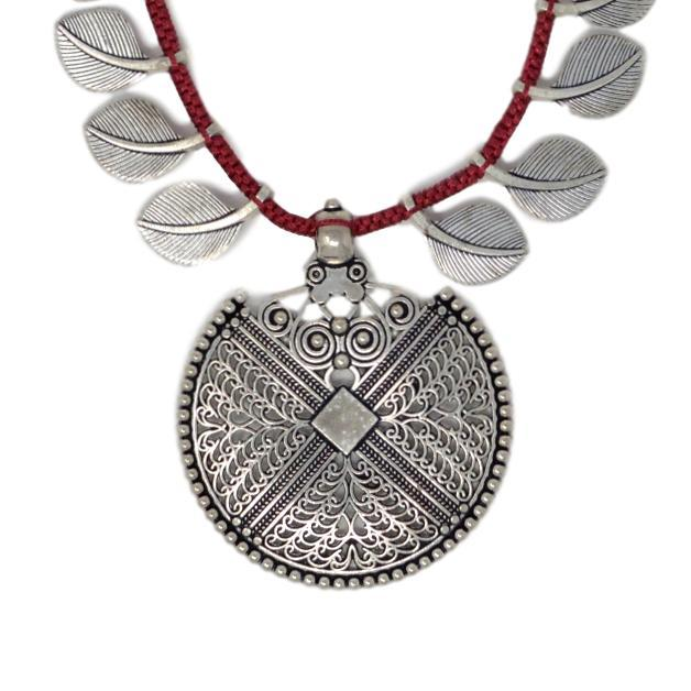 Red Dhaga Leaves Necklace Close Up