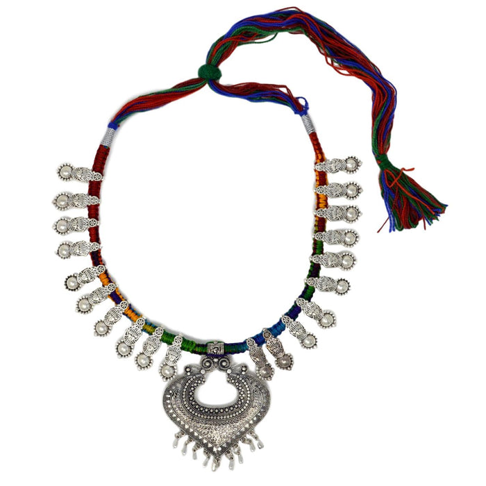 Colourful Dhaga Oxidised Necklace Top View
