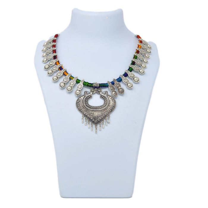 Colourful Dhaga Oxidised Necklace On Mannequin