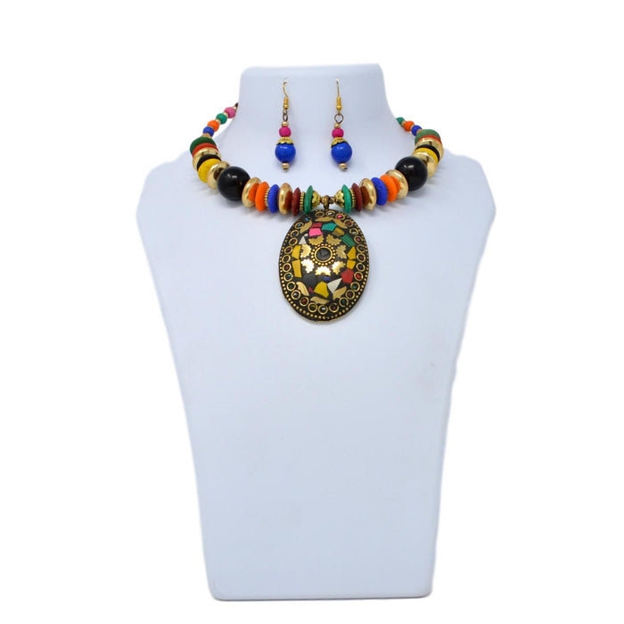 Colour Beads Necklace Set On Mannequin