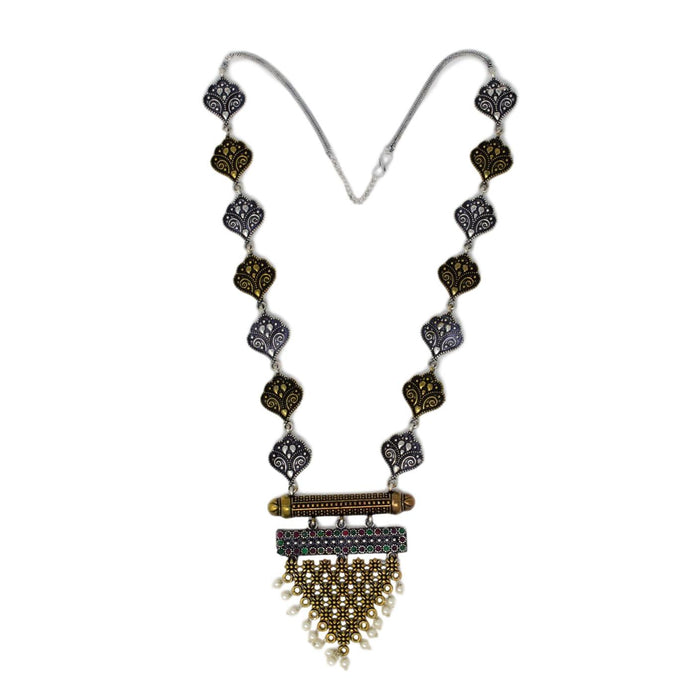 Gold Oxidised Necklace Set Top View