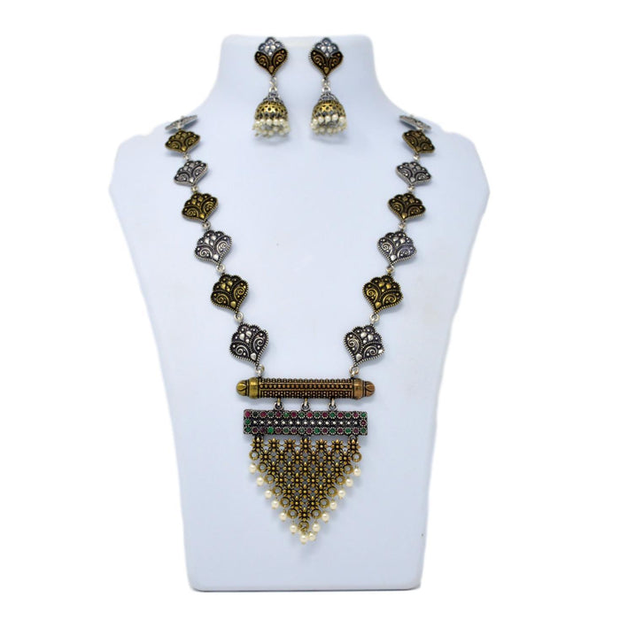 Gold Oxidised Necklace Set On Mannequin