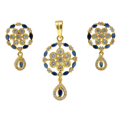 American White Diamond with Blue Stone Pendant Set Full Set