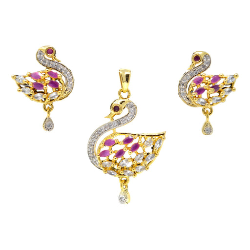 American White Diamond with Pink Stone Pendant Set Full Set