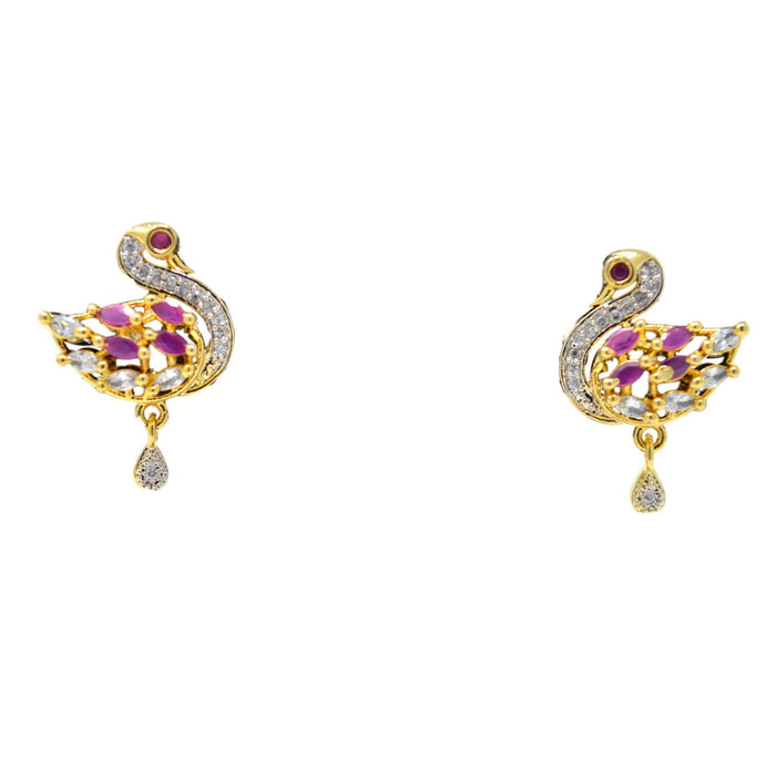 American White Diamond with Pink Stone Pendant Set Earrings