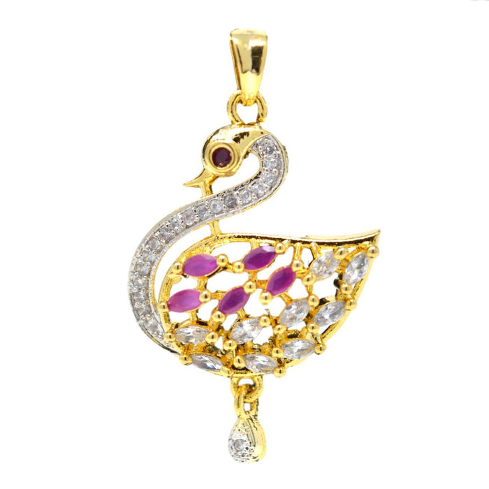 American White Diamond with Pink Stone Pendant Set Only Pendant
