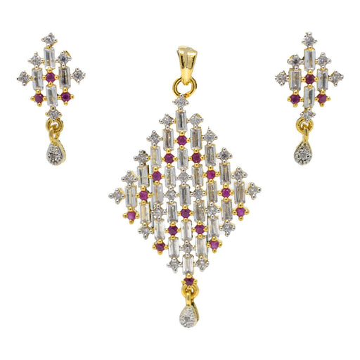 Amerian White Diamond with Red Stone Pendant Set Full Set