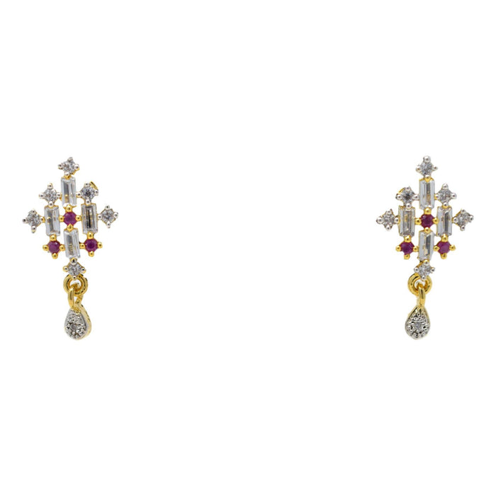 Amerian White Diamond with Red Stone Pendant Set Earrings