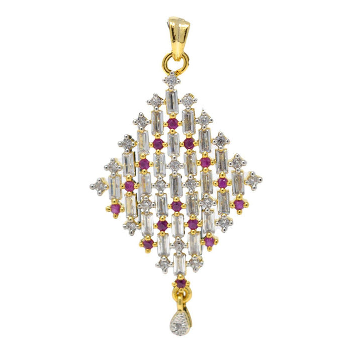 Amerian White Diamond with Red Stone Pendant Set Only Pendant