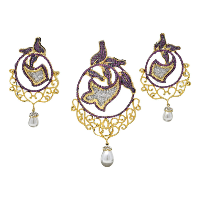 American Diamond with Moti Pendant Set Full Set
