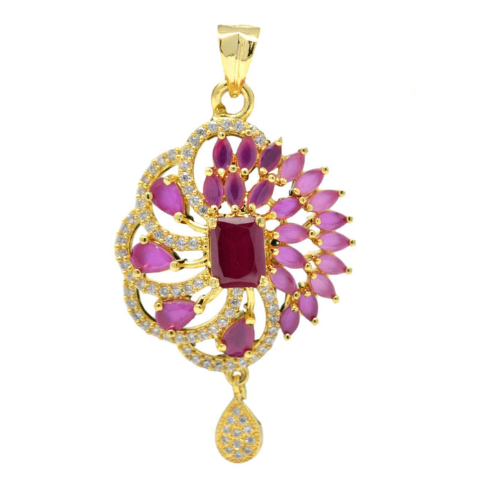 American Diamond with Pink Stone Pendant Set Only Pendant