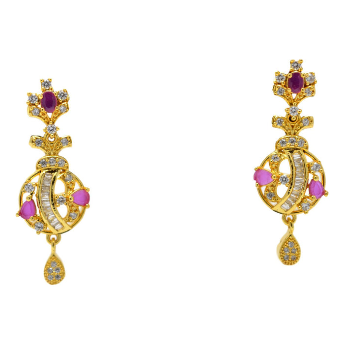 American Diamond with Pink Stone Pendant Set Earrings