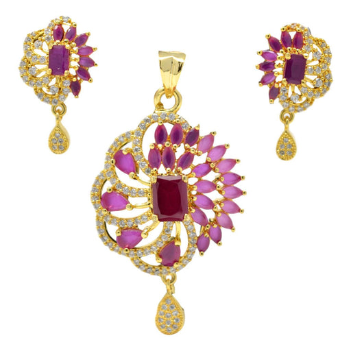 American Diamond with Pink Stone Pendant Set Full Set