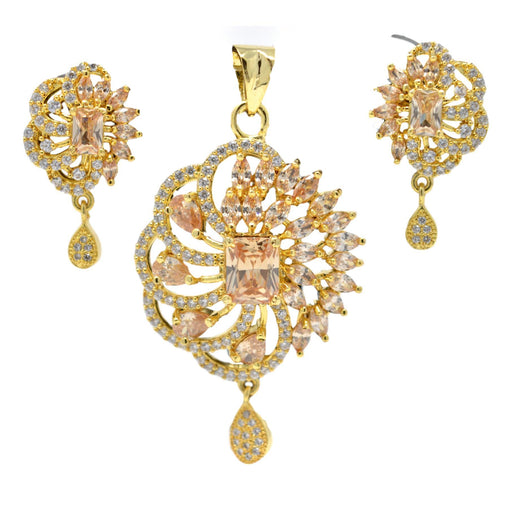 American Diamond with Golden Stone Pendant Set Full Set
